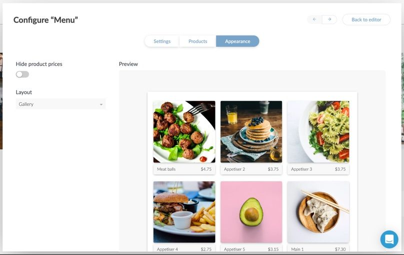 Upload menu