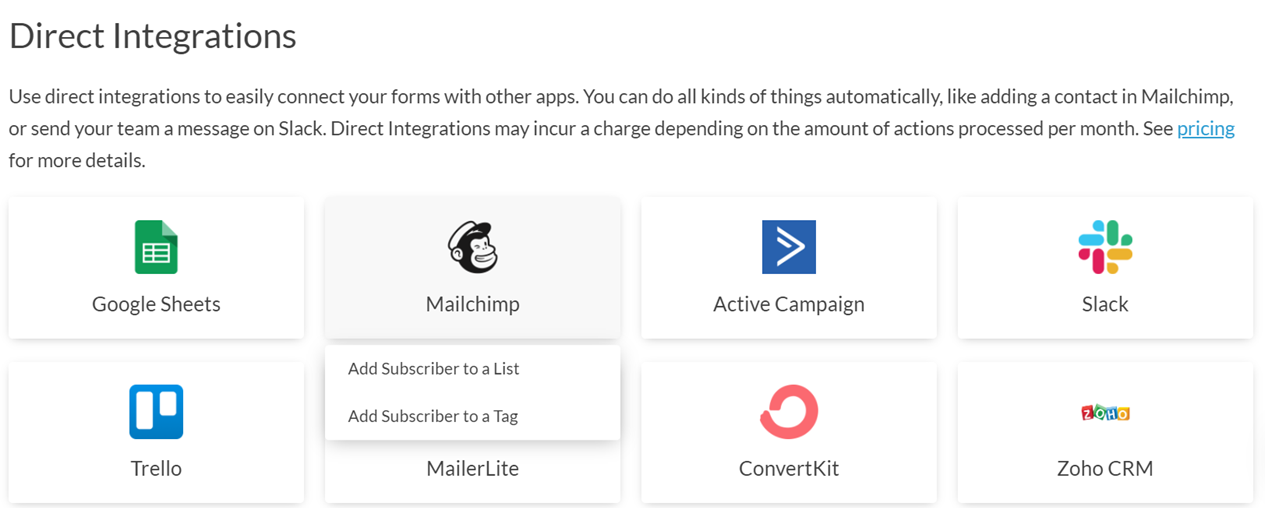 Setting up an integration between Paperform and Mailchimp