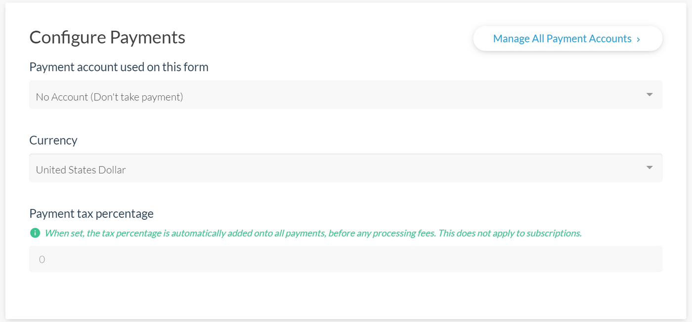 Configuring payments in Paperform