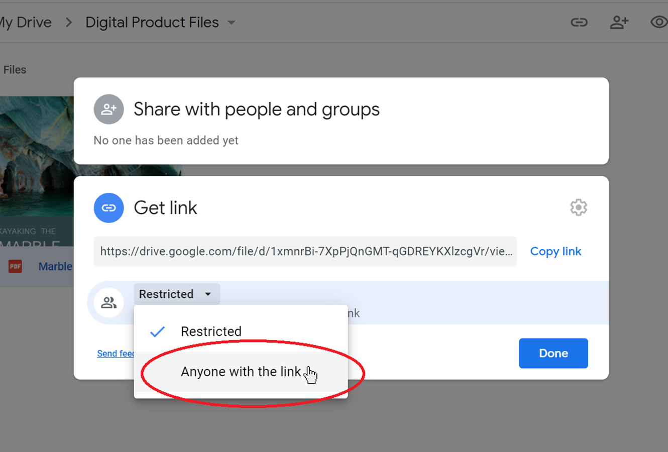 Changing the permissions in Google Drive