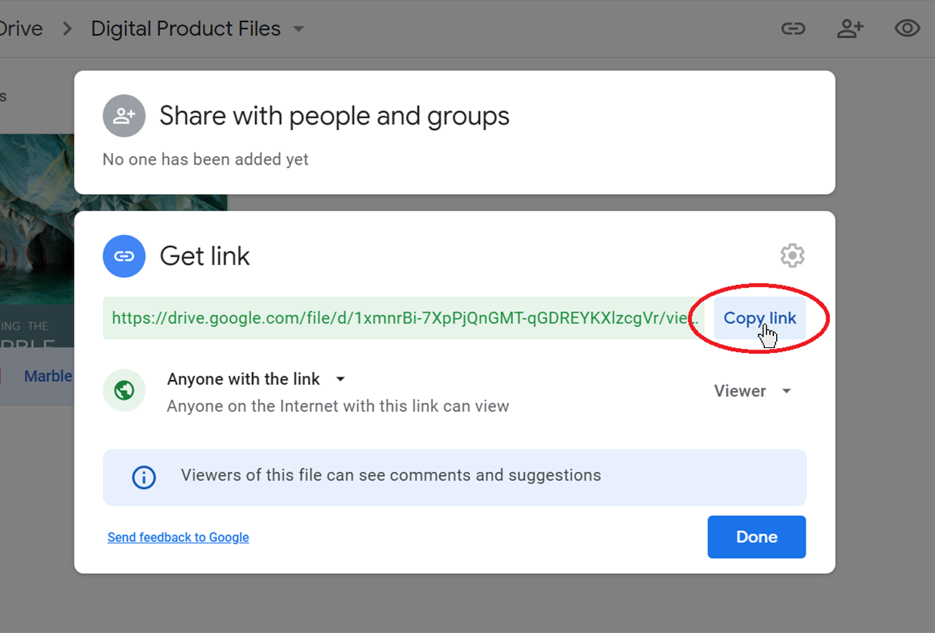 Copying the sharable link in Google Drive