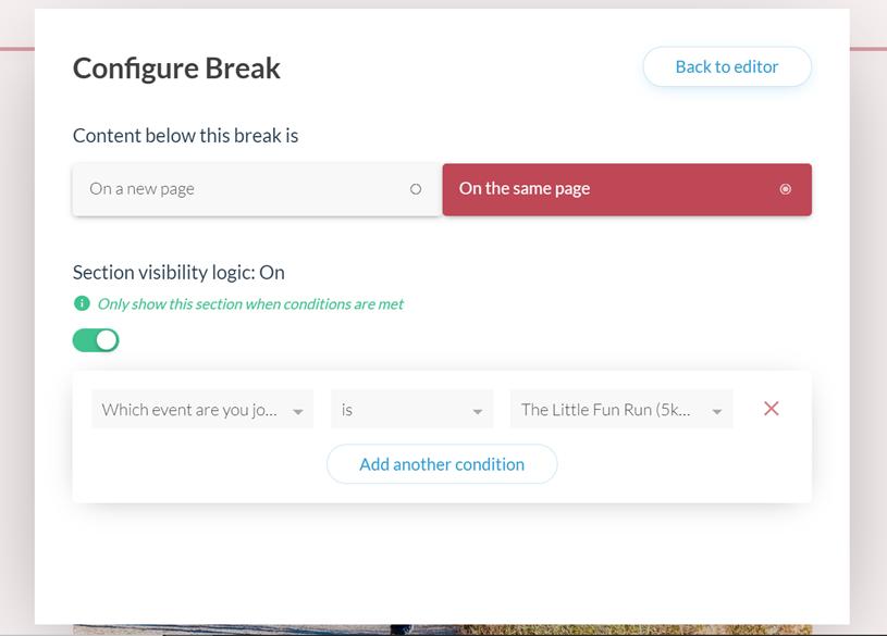 Configuring breaks in Paperform