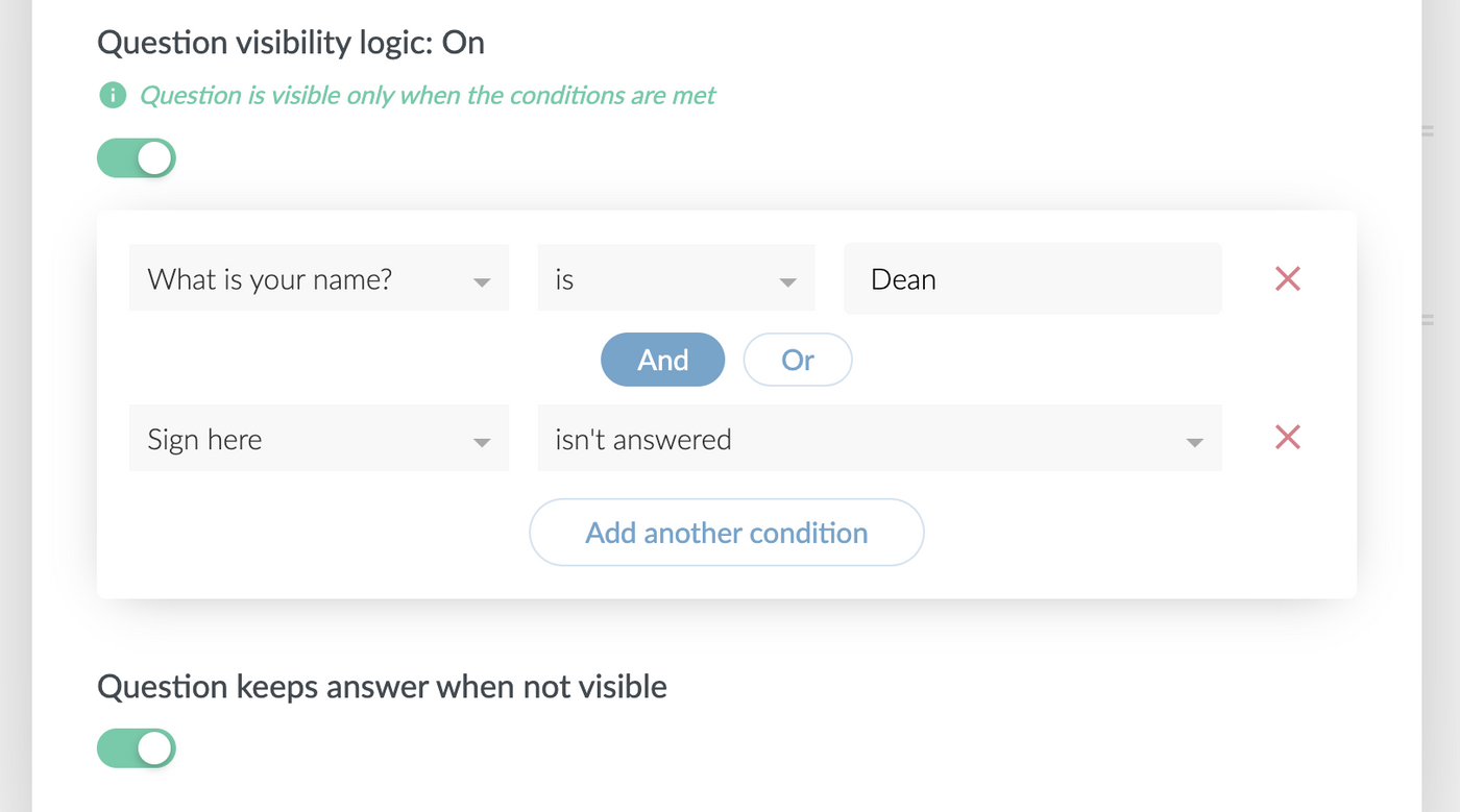 Question visibility logic in Paperform