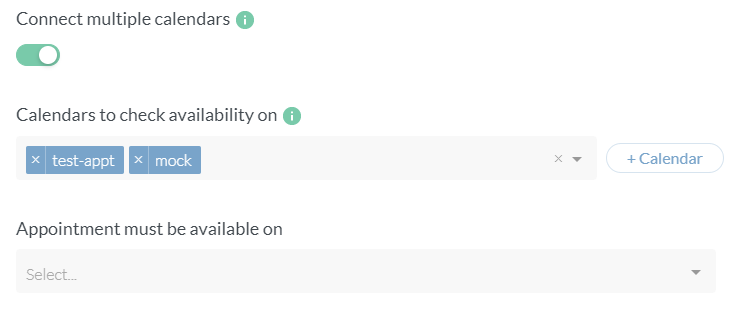 Check availability on multiple connected calendars