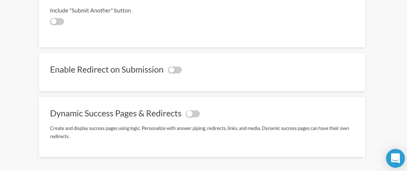 Enabling success pages and redirects in Paperform