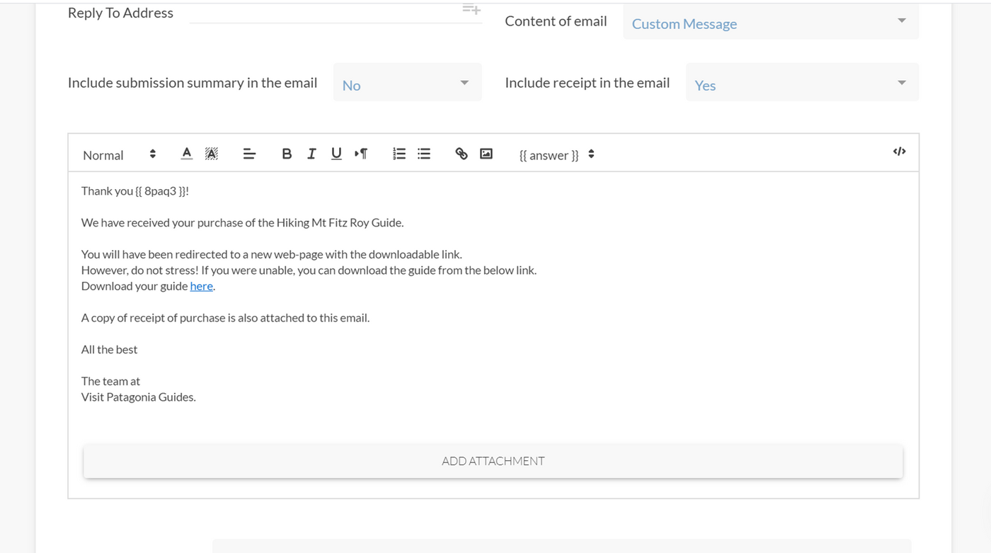 Creating an automated email inside of Paperform