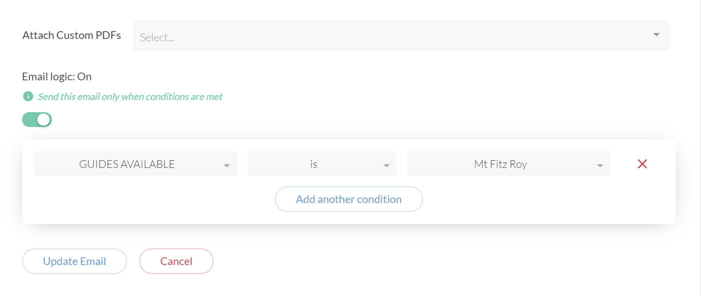 Setting up conditions for sending automated emails