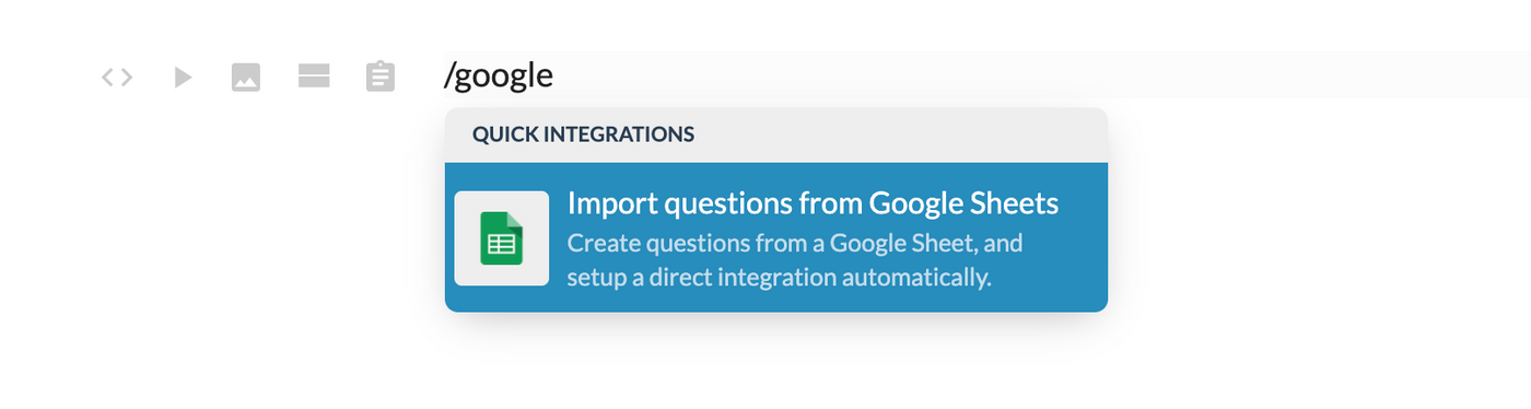 Or type /google to search for the google integration