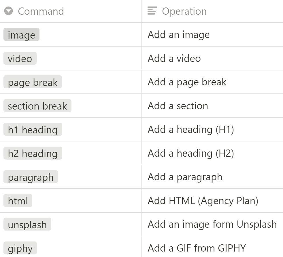Slash commands for content