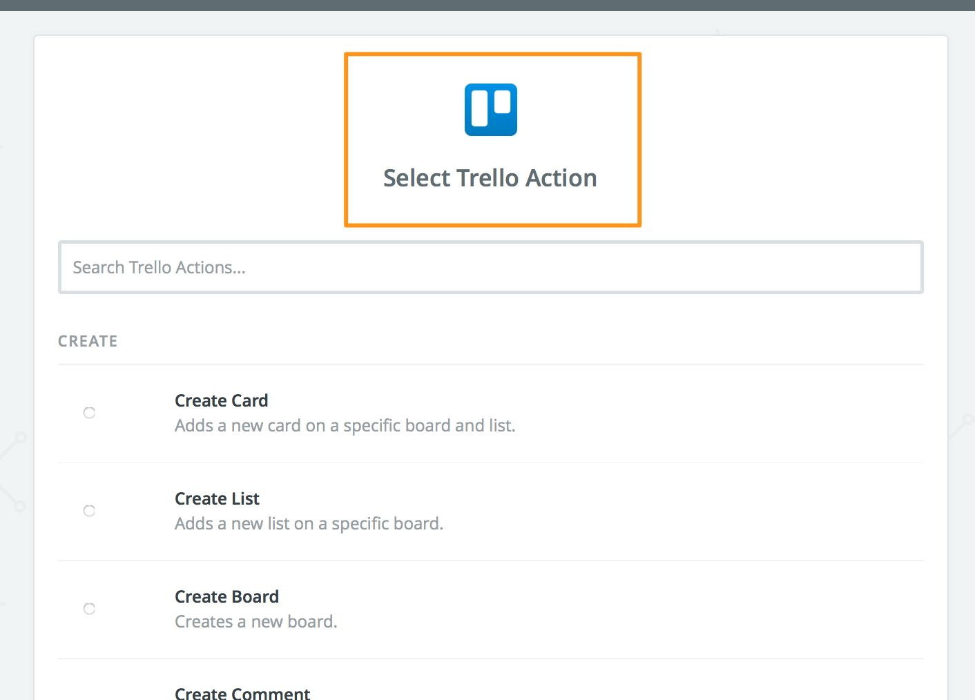 Pick Trello action
