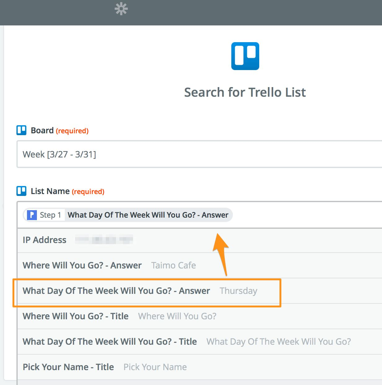 Pick Trello board to use