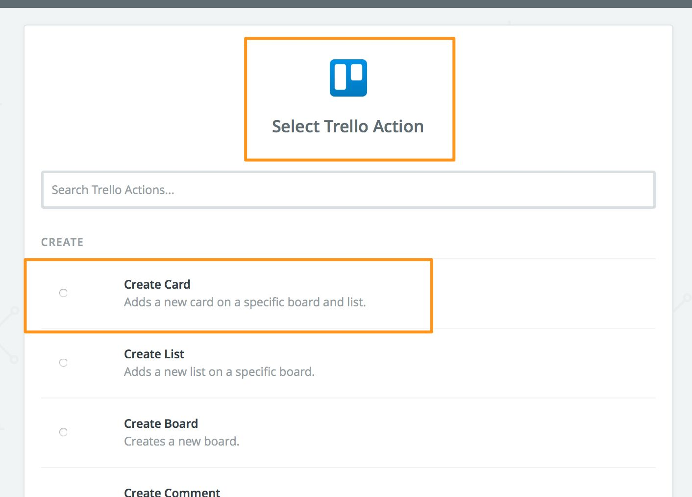 Create a card in Trello
