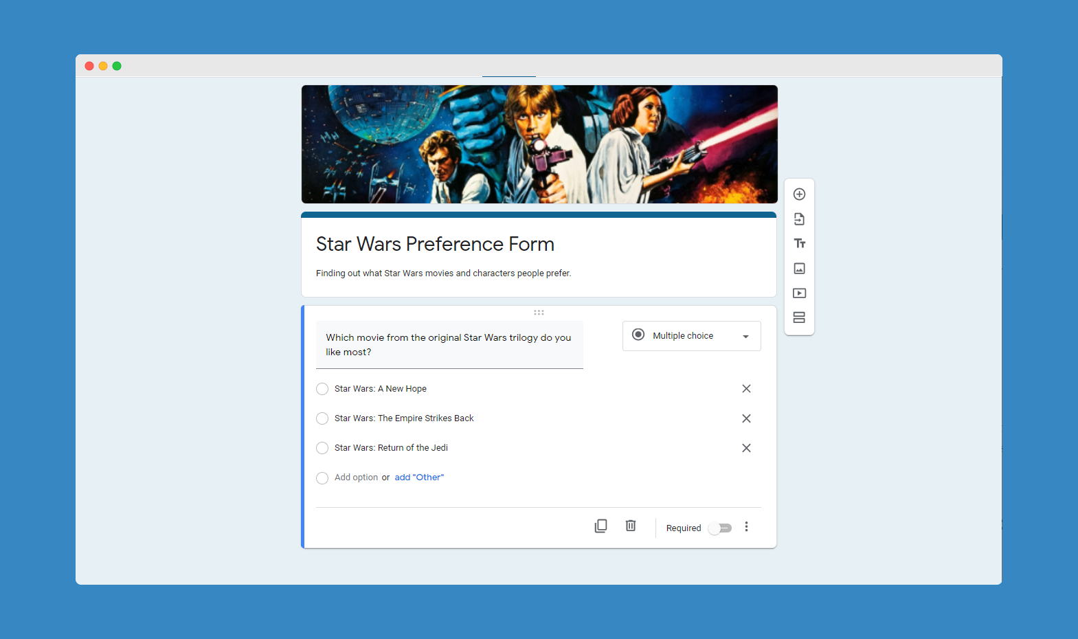 The next step of creating a Google Form